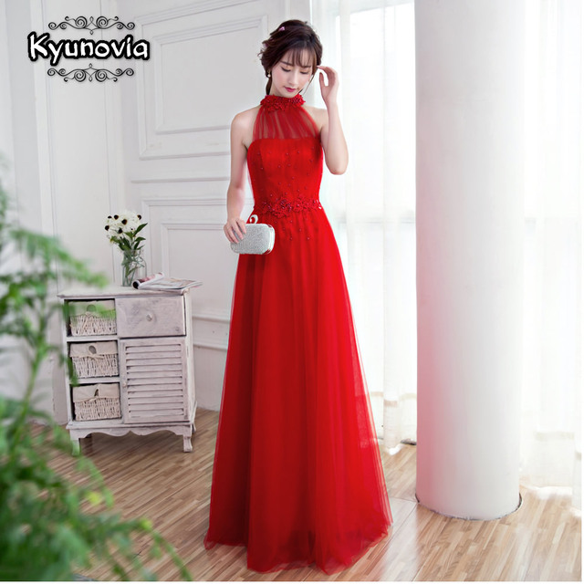 Floor Length Halter Dress Beaded Long Prom Dress Blue Champagne Sleeveless Evening Dress Appliques Lace Up Prom Dresses FD28 6