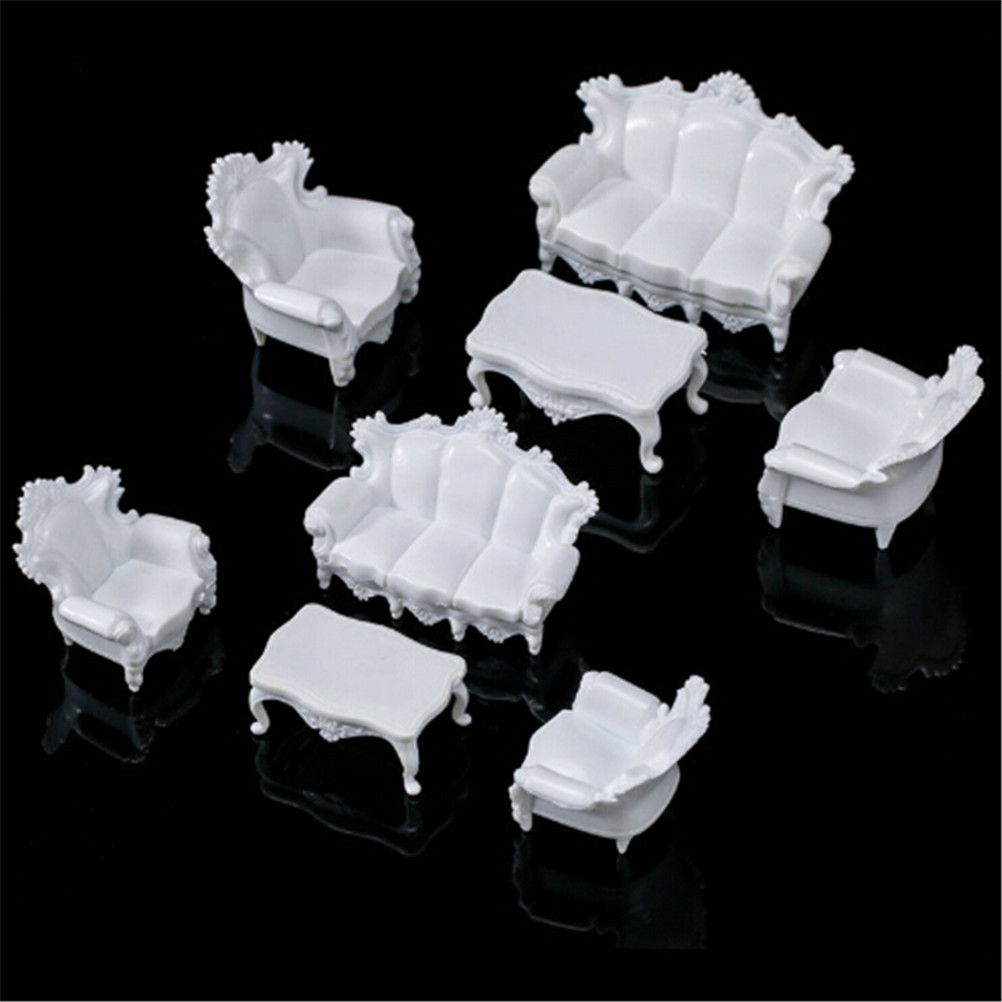 4pcs Dolls Acce White DIY 1/25 Dollhouse Miniature Living Room Antique Sofa Set Tea Table Settee Model For Kids Gift Classic Toy