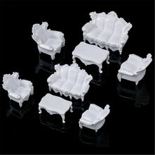 4pcs Dolls Acce White DIY 1/25 Dollhouse Miniature Living Room Antique Sofa Set Tea Table Settee Model for Kids Gift Classic Toy(China)