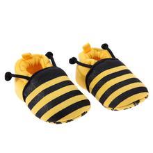 Милая обувь для новорожденных с рисунком желтой пчелы из мультфильма; мягкая обувь для первых шагов