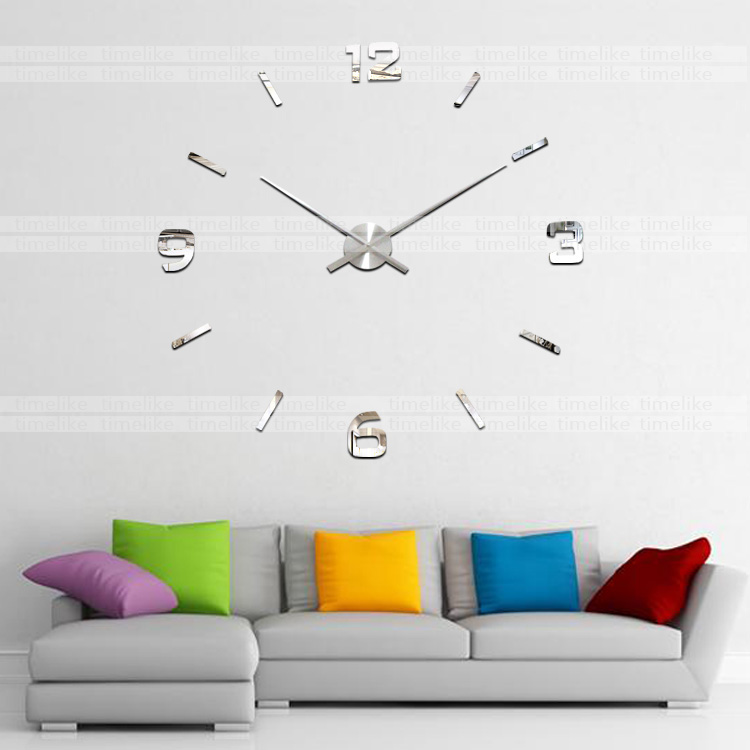 100CM Big Wall Clock 3D DIY Wall Stickers Clock Modern Home Decor Quartz Mechanism Large Clock Needles