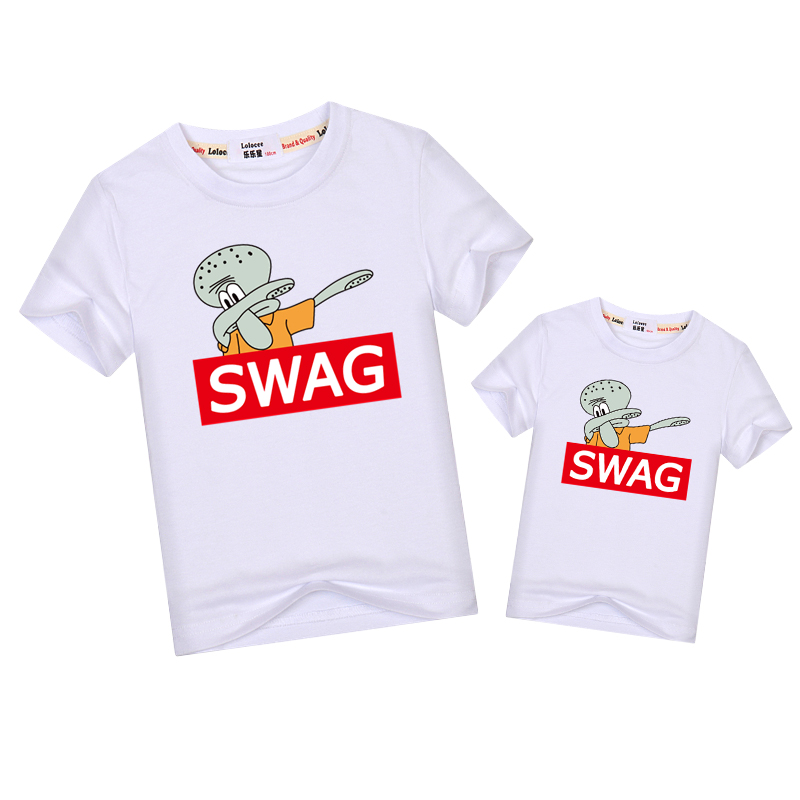 d5313b76f Swag funny cartoon t shirt father son matching outfits Dab pose tees short  sleeve family match clothes kid dad shirt fashion top-in Matching Family  Outfits ...