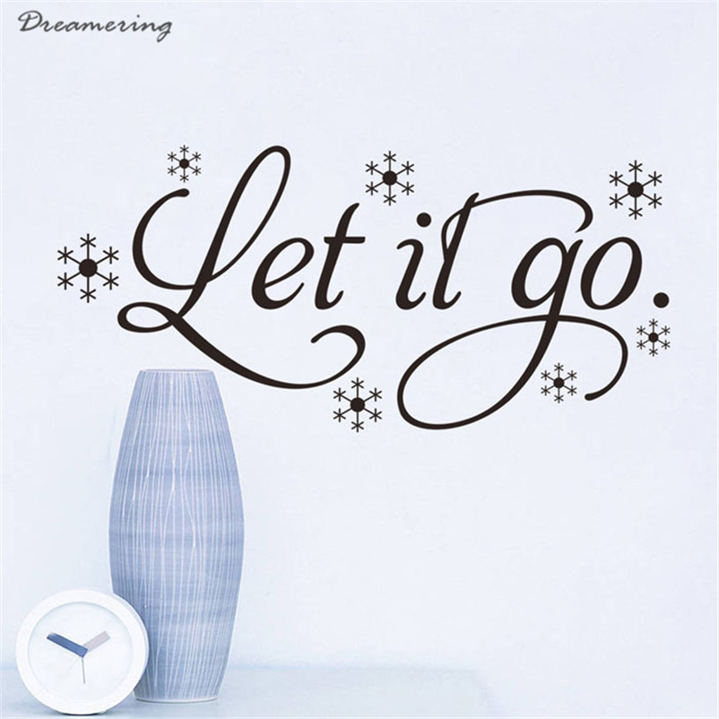 High Quality Let It Go Kid's Room Snow Vinyl Frozen Wall Sticker Home Wall Words Decor Hot Sale Wholesale Free Shipping,Dec 9