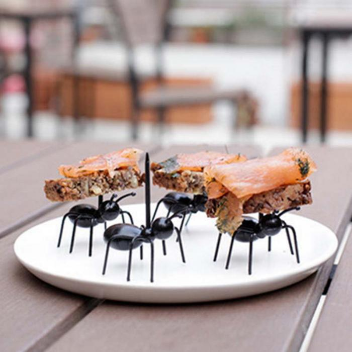 New Arrivals Portable 12pcs Food Party Gadgets Ant Shape Fruit Forks Sticks Outdoor Sports Picnic Camping Tableware Equipment 21