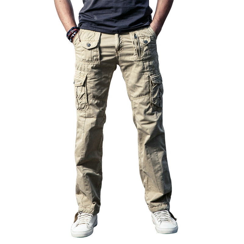 Cncool Mens Military Cargo Pants Solid Khaki Breathable Summer Large Size Multi Pocket Long Trouser HOT Spliced Pantalon Homme