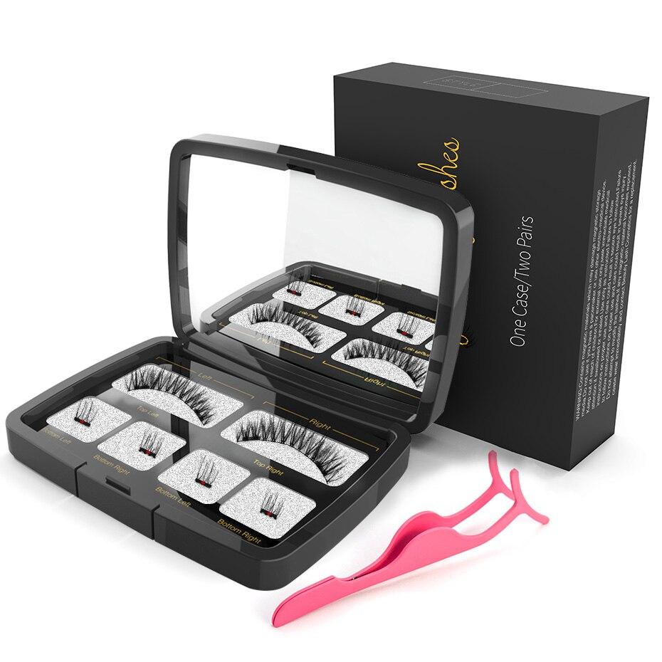 Genailish Magnetische wimpern 4 teil magneten handgemachte 3D/6D magnet wimpern natürliche falsche wimpern komfortable mit Geschenk Box SCT04-1