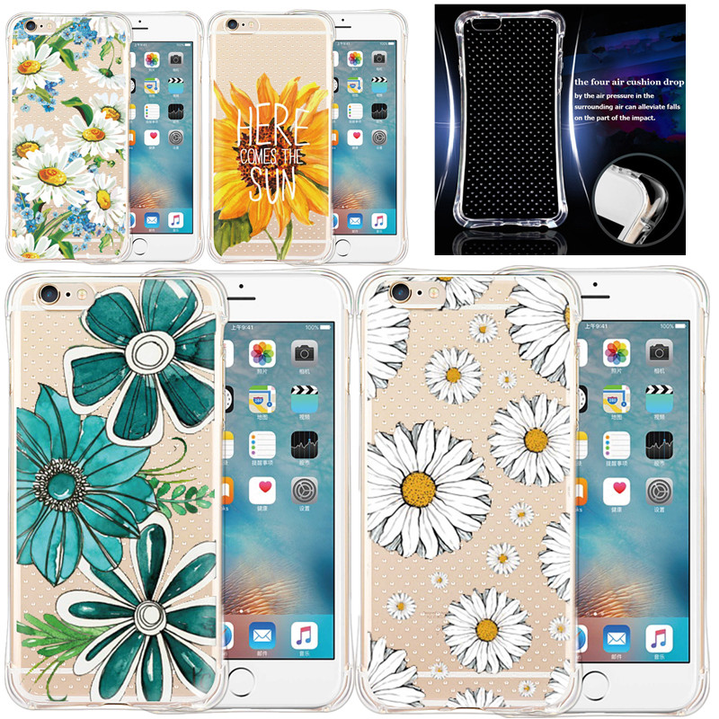 Colorful Brilliant Peony Daisy Flowers Soft Case TPU Silicone Phone Cover Shell Coque For iPhone 5 5s SE 6 6s plus Fashion Case