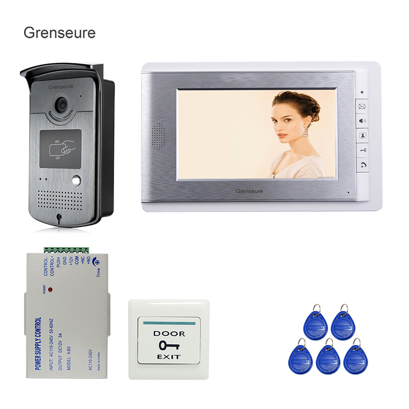 FREE SHIPPING New 7 LCD Color Screen Video Door Phone Intercom System + 1 Monitor + 700TVL RFID Access Outdoor Camera In Stock free shipping new 7 tft lcd screen record video door phone intercom system outdoor rfid access keypad password camera 8g sd