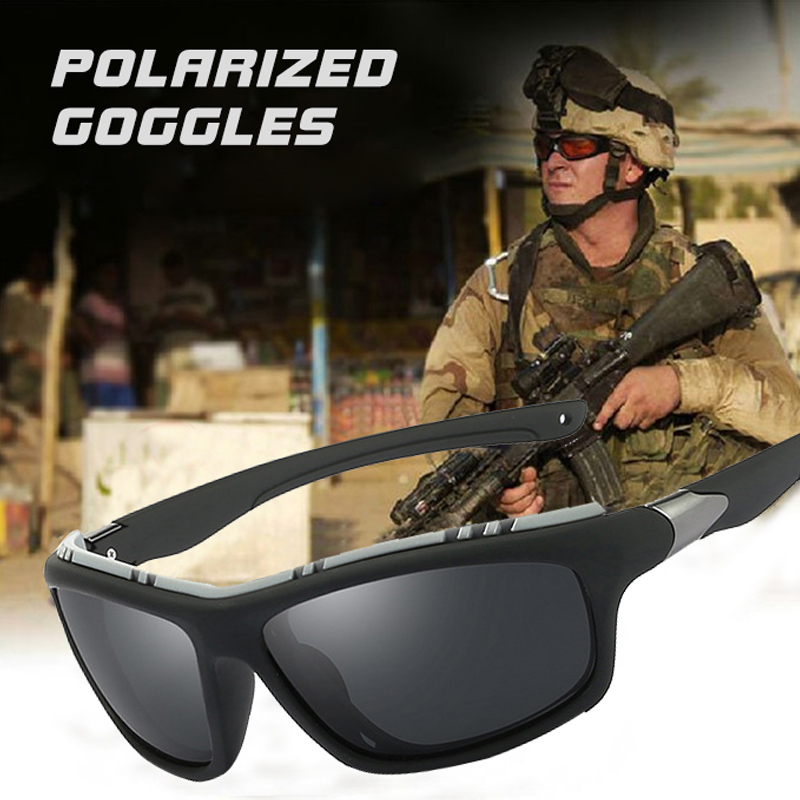 9d69940421 Top Mens Polarized Army Goggles Sports Driving Sunglasses UV400 Fishing Men  Tactical Sun glasses Steampunk For