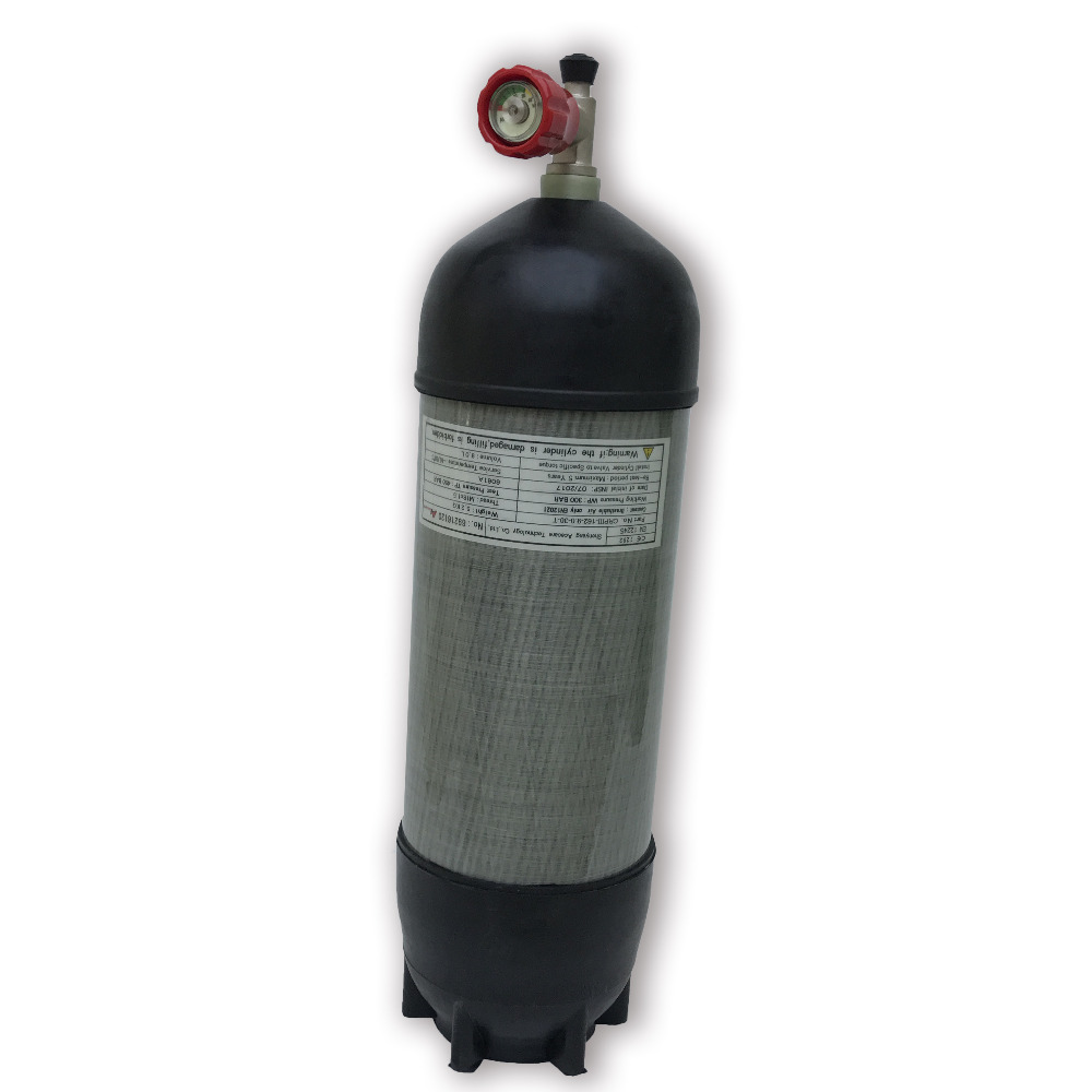 4500Psi 9L HP Carbon Fiber composite cylinder for PCP air gun/Paintball tank Refilling with gauge valve and protective sleeve -V