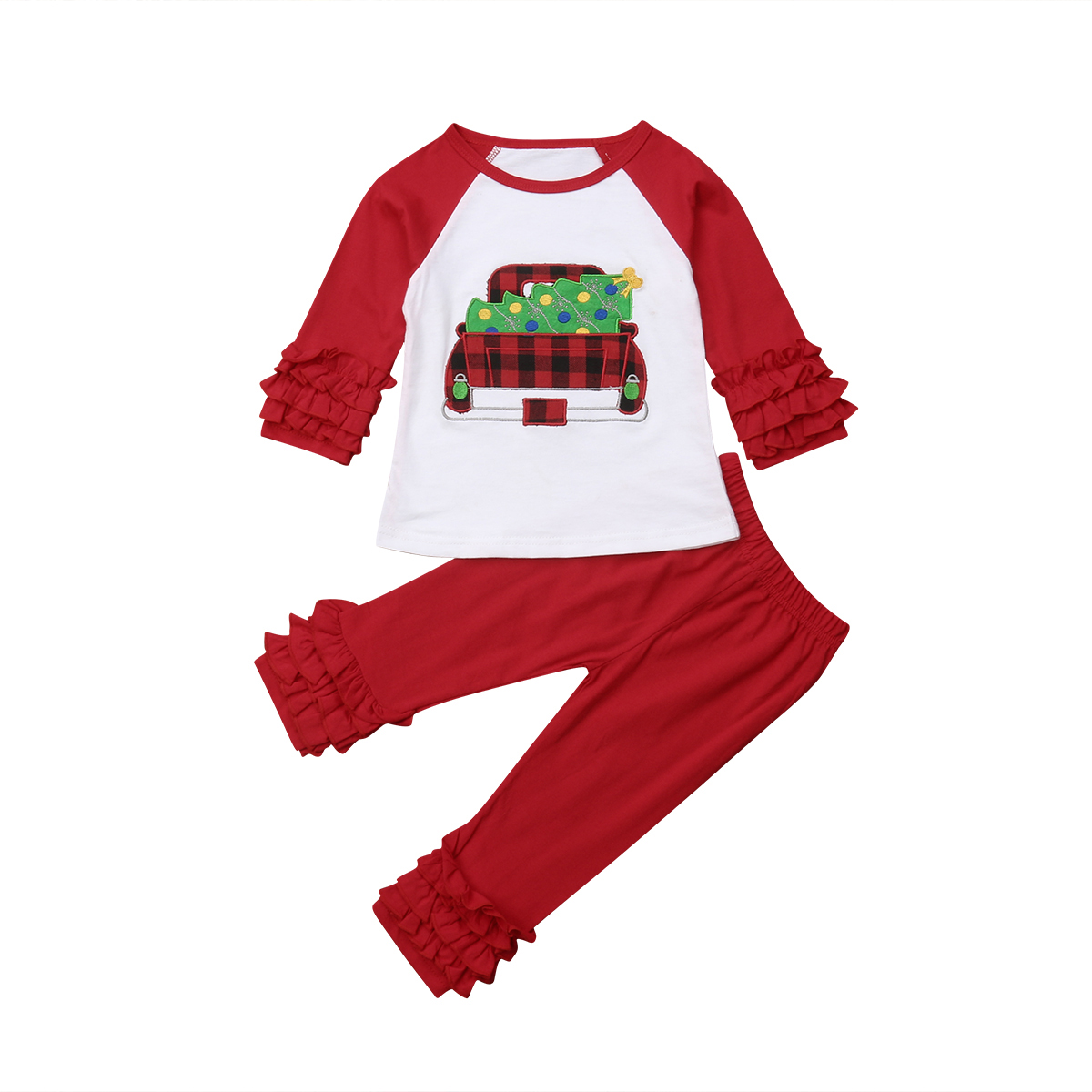 Christmas Kids Baby Girls Clothing Tops Cotton T-shirt Long Sleeve Ruffle Pants Xmax Cotton 2PCS Outfit Clothes Set Girl 0-6T fashion baby girl t shirt set cotton heart print shirt hole denim cropped trousers casual polka dot children clothing set
