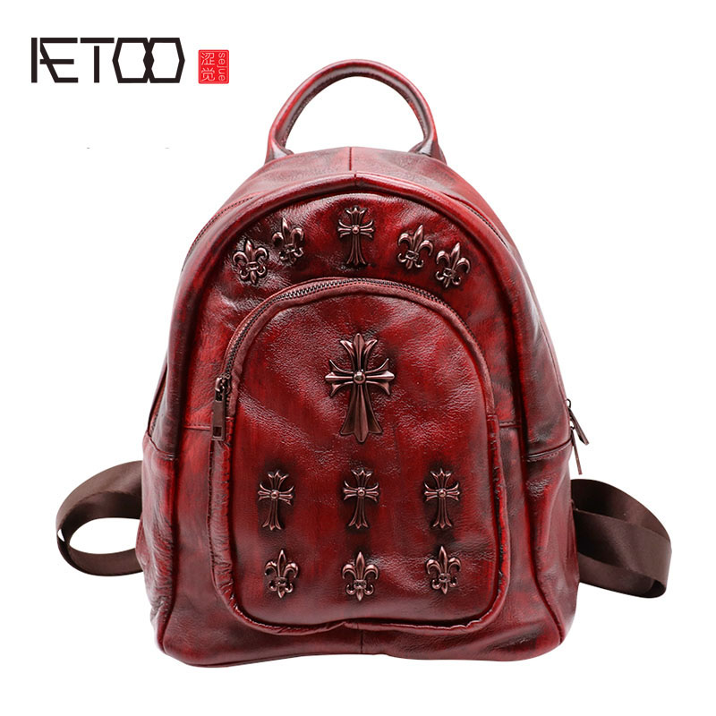 AETOO Leather shoulder bag retro bag new leather backpack fashion wild large-capacity travel bag aetoo new leather women backpack cowhide retro shoulder bag fashion travel backpack lady bag embossed bag