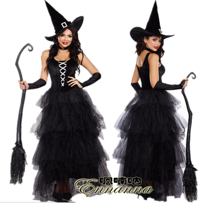 2018new luxury black witch dress Halloween host theatrical performances high quality women magician Cosplay photography clothing