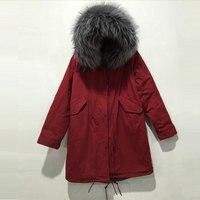 Long Style Fashion Mr&Mrs Wear,Grey Fur Inner For Male Wear,Red Parka Winter women&mens jacket DHL free shipping