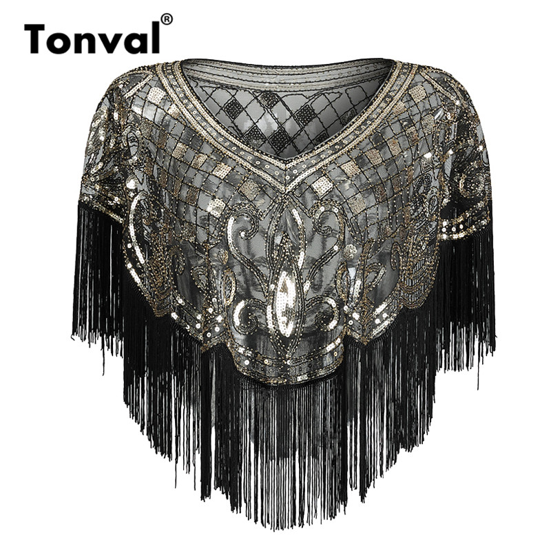 Tonval Vintage 1920s   Scarves   Pashmina Tassel Beaded Flapper Shawl Women Luxury Sequin Mesh Cape Cover Up Shawls and   Wraps