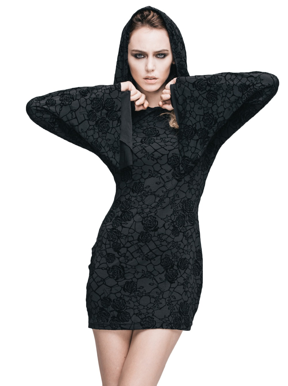 Steampunk Gothic Ukraine Black Dresses For Women Roses Print Flocking Knitted Dress With Hooded Long Sleeve Women Clothing 4