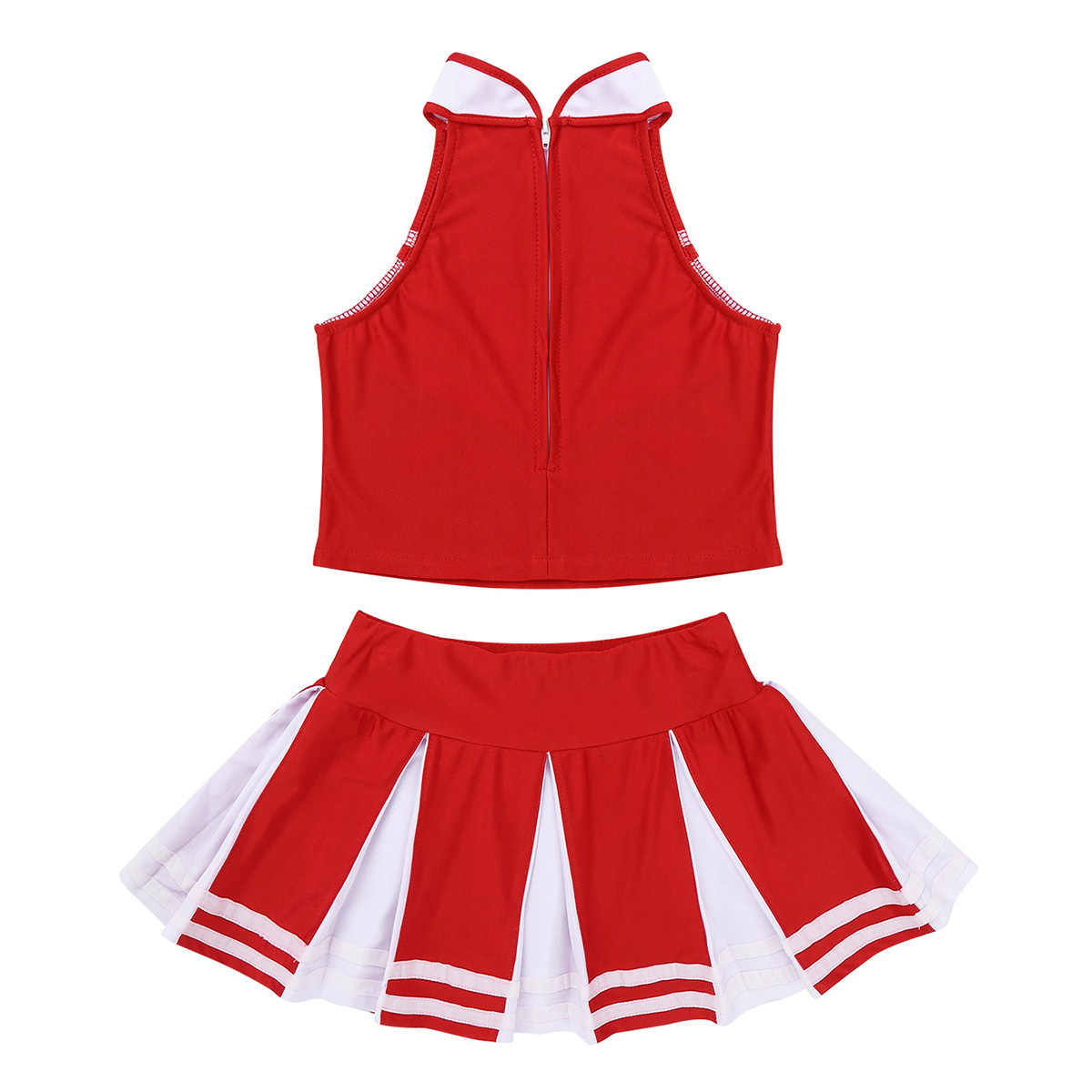 Cheerleader Kostüm Kinder Mädchen Jazz Dance Kostüm Sleeveless Reißverschluss Tops mit Plissee Rock Set Schule Cheerleading Uniformen