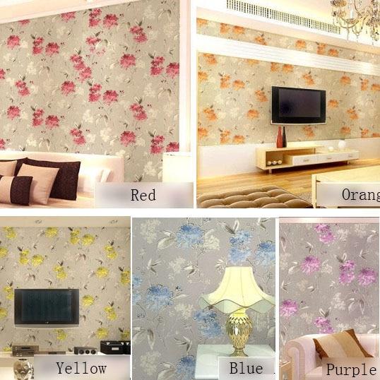 Pink Yellow Purple Blue Modern Flower Wallpaper Printed Wall Paper Floral