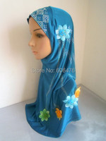 Mu521 New Design Solid Color With Hot Drill And Flower Fashion Muslim Islamic Hijab Free Shipping
