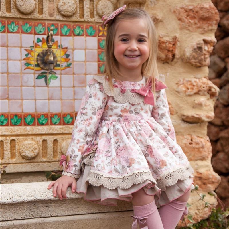 2019 nouveau automne Floral imprimé fille robe d'anniversaire fête princesse Costume 3 pièces pour filles Boutique enfants fille 1 2 3 4 5 6 vêtements - 6