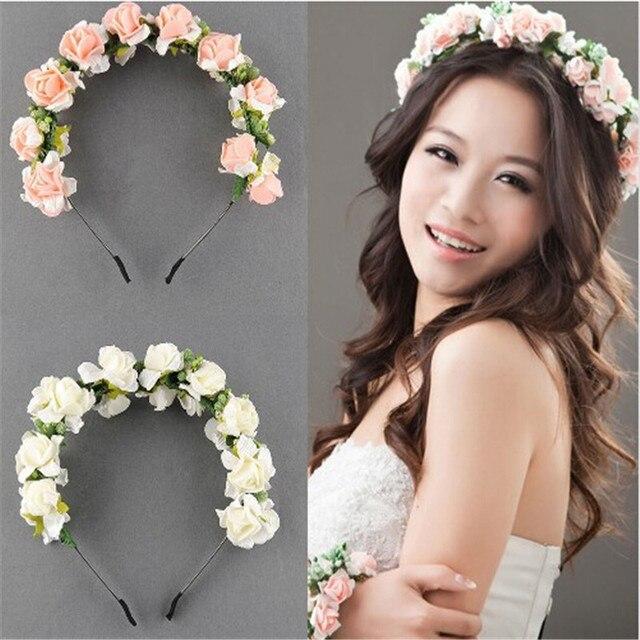 Haute qualité main mariée floral couronne rose bandeau fleur cheveux  festival de garland cheveux accessoires bandeaux