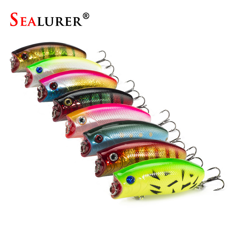 SEALURER 8pcs/lot Fishing Poppers 11g/5.5cm Fishing Lure Top Water Pesca Fish Bait Wobbler Isca Artificial Hard Bait Fly Fishing sealurer fishing lure minnow hard bait pesca floating wobbler 8cm 7 5g isca carp crankbait jerkbait 5colors 1pcs lot