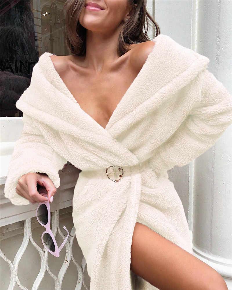 Wanita Mantel Kerah Turn-Down Warna Solid Cardigan Mantel Panjang Wanita Musim Gugur Musim Dingin Hangat Nyaman Mewah Mantel
