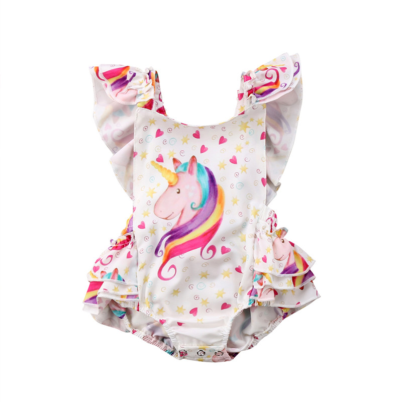 2018 Summer Adorable Baby Girl Clothes Newborn Baby Girls Unicorn Ruffles Backless   Romper   Outfits Set Clothes 0-3T