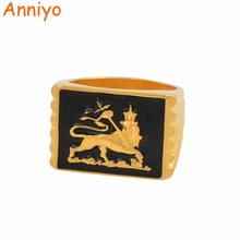 Anniyo Lion of Judah Ethiopia BIG Ring for Women Men Gold Color African Jewelry Ethiopian Wedding Gifts #134906
