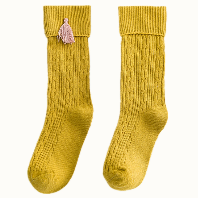 2018 Spring New Fashion Childrens Long Socks Solid Color Double Needle Flanging Tassel Pile High Socks for Girls 1-8 Years ...