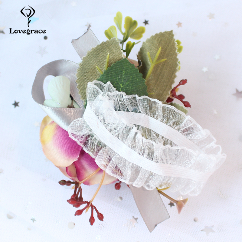 Lovegrace Artificial Silk Flowers Wrist and Corsages Blue Yellow Band Bridesmaid Bracelet Wedding Bouquet Hand Flower Supplies