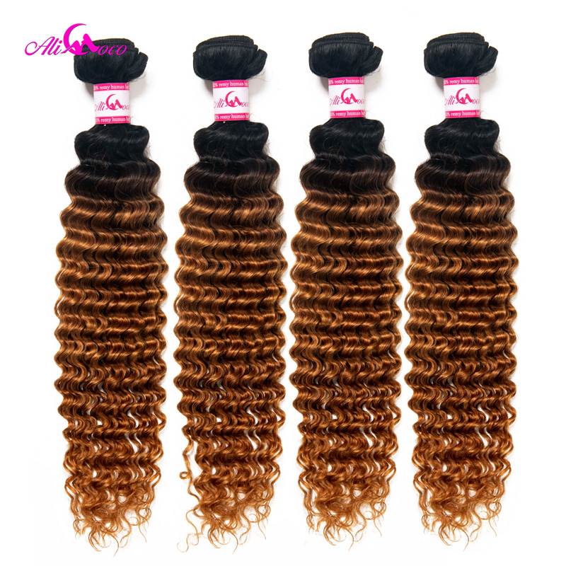 Ali Coco Brazilian Deep Wave 100% Human Hair Weave 4 Bundles 1B/30 Color Remy Hair Bundle Deals 12-30 Inch Free Shipping