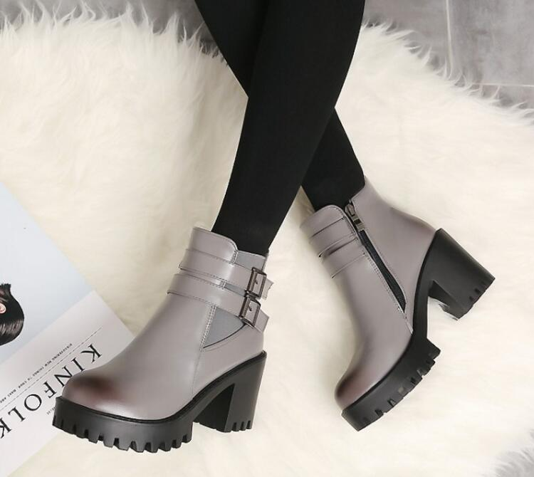 gray Talons Taille Cheville 62 Matrin Byb16185 Moto Femme Black Femmes Mujer D'hiver Bottes Chunky Hauts Pompes Chaussures Zapatos 26 Chaussure JlKc31TF
