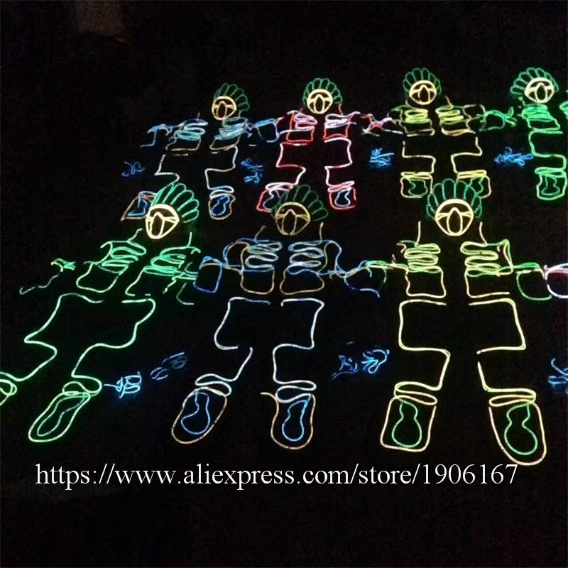 Led Luminous EL Wire Robot Suit Set For DJ DS Illuminated Ballroom Costume Dance Clothing For Stage Nightclub 02