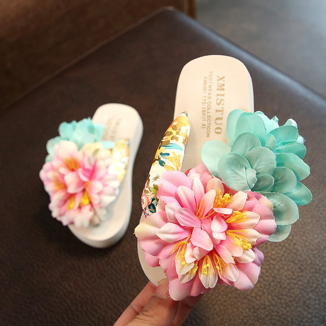 XMISTUO Family fitted child slippers seaside holiday tide baby flip flops shoes slip handmade flower beach Parent child shoes