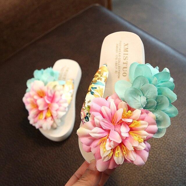 Xmistuo Family Gemonteerd Kind Slippers Seaside Vakantie Tij Baby Flip Flops Schoenen Slip Handgemaakte Bloem Strand Ouder Kind schoenen