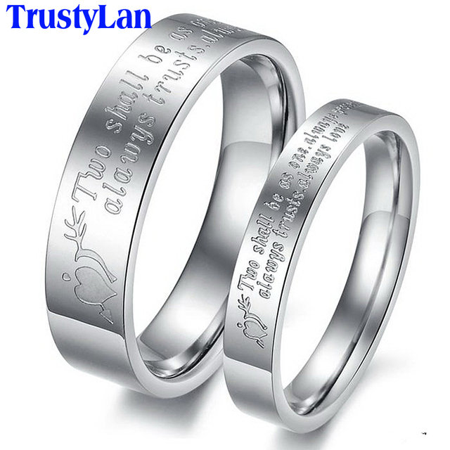 TrustyLan Vintage Engagement Rings Man Woman Wedding Ring Sets Stainless  Steel Rings Endless Love Couple Rings
