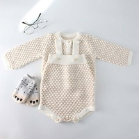 Ins Hot Sell Toddler Baby Girls Beige Color Knitted Sweater Cardigans and Rompers 2pcs Sets Candy Color Cute Children Clothing