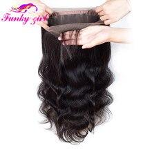 Funky menina 360 fechamento frontal do laço pré arrancado com o cabelo do bebê parte livre brailian onda corpo suíço laço frontal remy cabelo humano