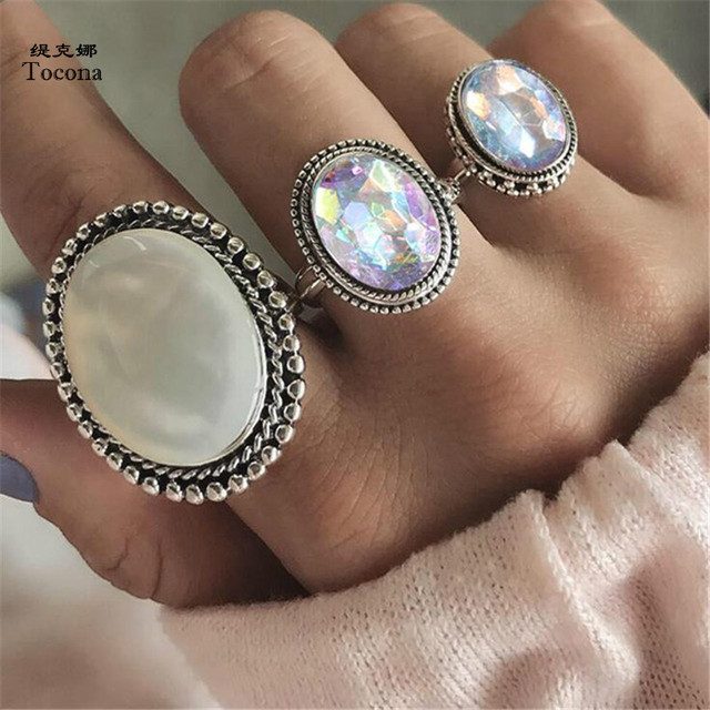 Tocona 3pcs/Set Bohemia Oval Colorful Opal Stone Knuckle Midi Finger Rings Set f