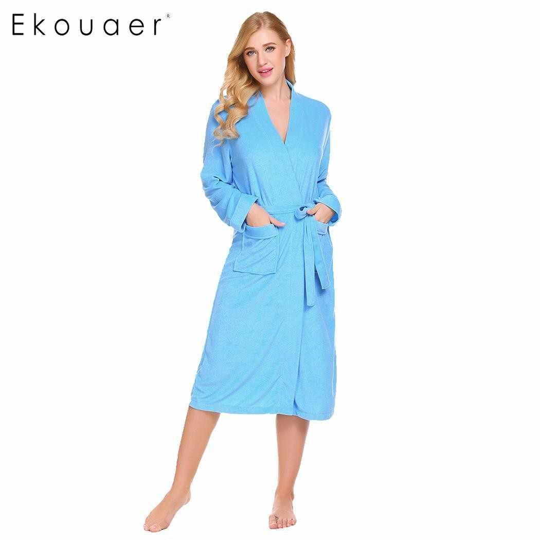 Ekouaer 女性ローブ着物浴衣パジャマ V ネックポケット長袖スパ浴室ローブ女性ドレッシングガウン冬のナイトウェア
