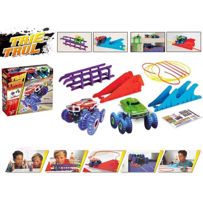 Neue Trix Truxs Monster Truck Set Als Gesehen Auf TV Spielzeug Stunt-Auto, Das Flip Klettern Und Zip Line Leistungsstarke 4 rad Stick Weihnachten Geschenk
