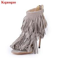 Peep Toe Women Sandals High Thin Heel Tassel Embellish Back Zipper Design Zapatos Mujer Kid Suede