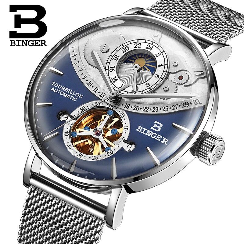 Skeleton Watch BINGER High-end Switzerland Automatic Watch Men Moon phase 24 hours Full Steel Tourbillon Mechanical watches 2019