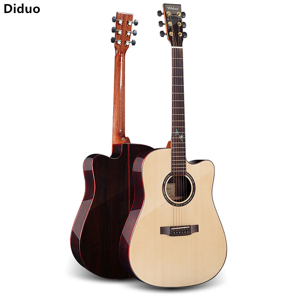 Diduo 41 Inch Hot Acoustic Guitar Rosewood Fingerboard Picea Asperata Light Guitarra Folk Guitar Closed Knob Musical Instruments Pure Whiteness Sports & Entertainment Musical Instruments