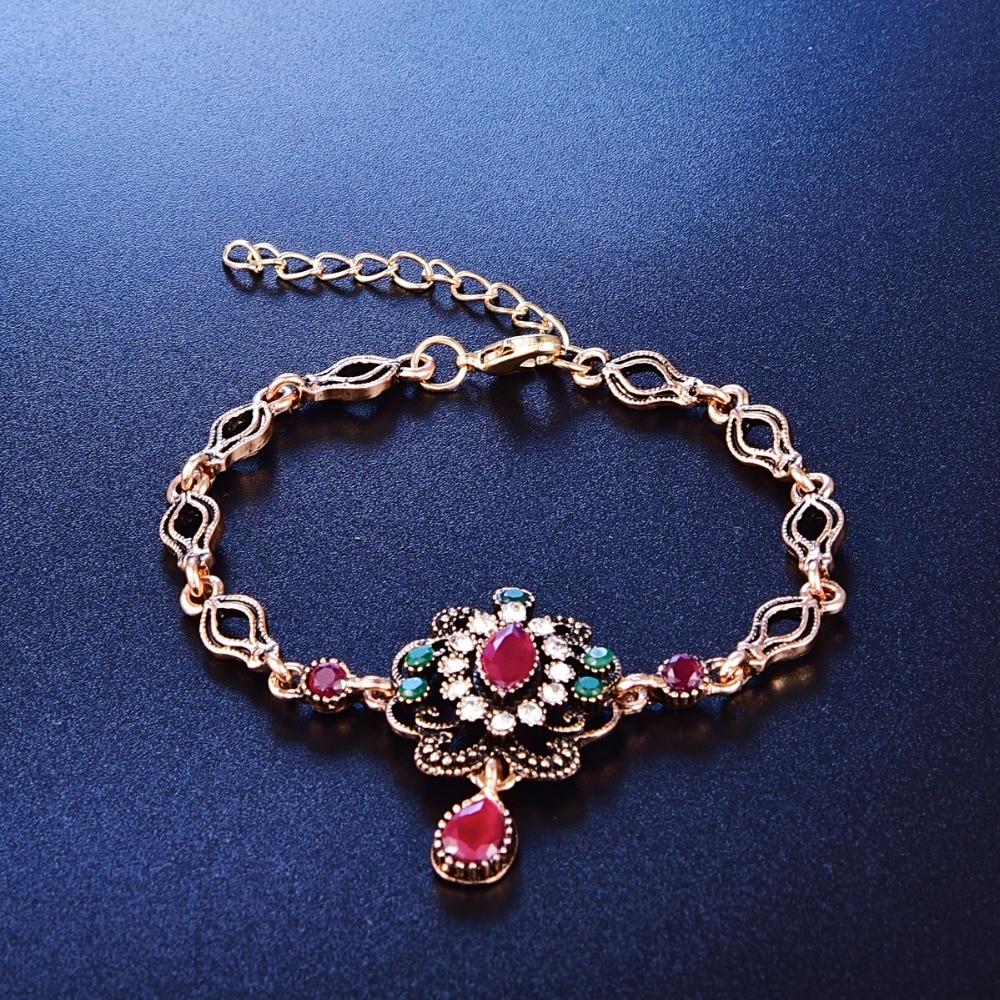 3 Teile//satz Vintage Türkischen Schmuck Sets Für Frauen Antique Gold Multicolor Harz Perlen Quasten Halskette Ohrringe Und Armband Set