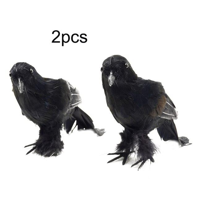 24 سنتيمتر 2 قطعة/المجموعة هالوين حزب الديكور واقعية الطيور الغربان هالوين الدعامة ديكور الغراب الأسود