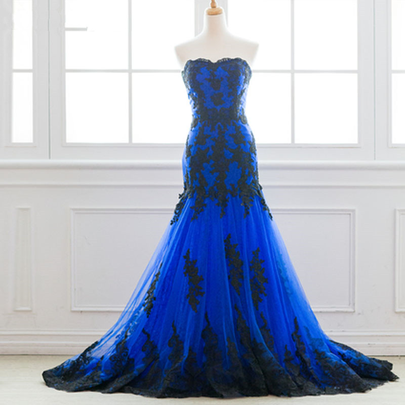 2018 Evening Dresses Long Robe De Soiree longue  Royal Blue Tulle with Black  Lace Long Formal Party Gown Abendkleider
