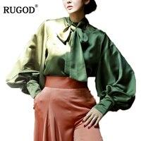 RUGOD 2018 New Women Silk Satin Bow Long Lantern Sleeve Blouse Elegant Office Lady Work Shirt Female White Green Color Blusas