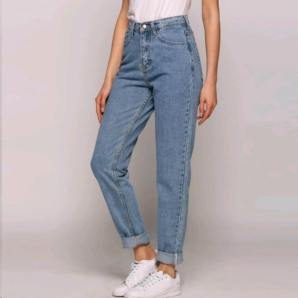 High-Waist Jeans Pants Loose Full-Length-Pants Slim Vintage Womens New